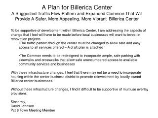 A Plan for Billerica Center  A Suggested Traffic Flow Pattern and Expanded Common That Will Provide A Safer, More Appeal