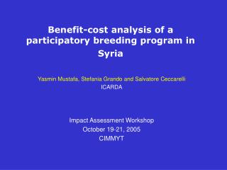 Benefit-cost analysis of a participatory breeding program in Syria