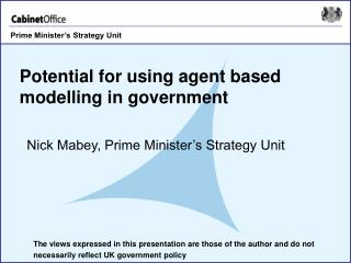 Potential for using agent based modelling in government