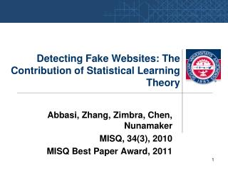 Detecting Fake Websites: The Contribution of Statistical Learning Theory