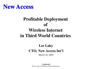 Profitable Deployment  of Wireless Internet in Third World Countries