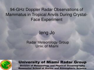 94-GHz Doppler Radar Observations of Mammatus in Tropical Anvils During Crystal-Face Experiment