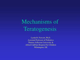 Mechanisms of Teratogenesis
