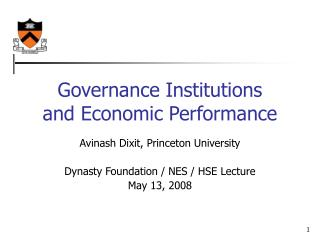 Governance Institutions and Economic Performance
