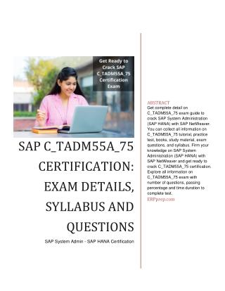 SAP System Administration (SAP HANA) with SAP NetWeaver - C_TADM55A_75
