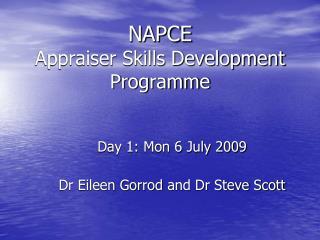 NAPCE  Appraiser Skills Development Programme