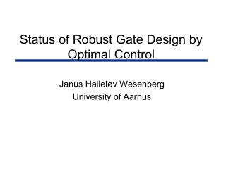 Status of Robust Gate Design by Optimal Control