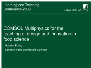 COMSOL Multiphysics for the teaching of design and innovation in food science