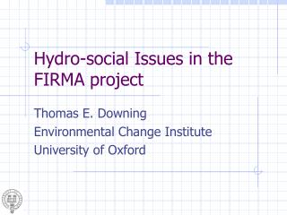 Hydro-social Issues in the FIRMA project