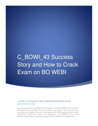 C_BOWI_43 Success Story and How to Crack Exam on BO WEBI