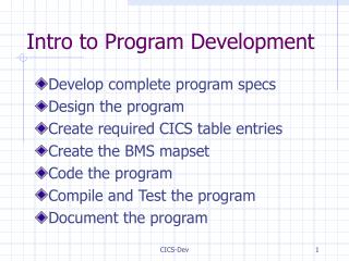 Intro to Program Development