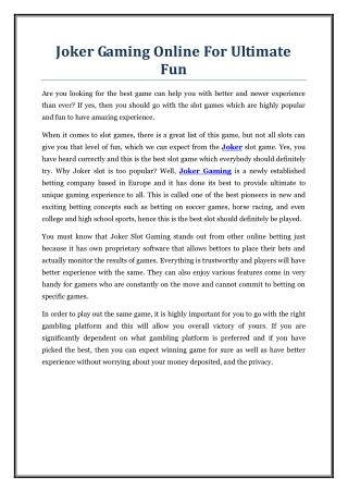 Joker Gaming Online For Ultimate Fun