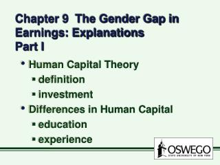 Chapter 9  The Gender Gap in Earnings: Explanations Part I