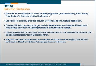 Rating Rating von Privatkunden