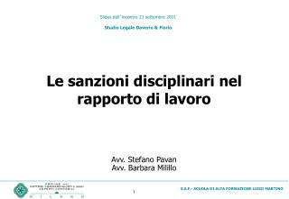 Slides dell ' incontro 21 settembre 2011 Studio Legale Daverio & Florio