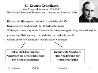 5.1 Keynes: Grundlagen John Maynard Keynes (1883-1946) The General Theory of Employment, Interest and Money (1936)