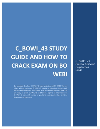 C_BOWI_43 Study Guide and How to Crack Exam on SAP BO WEBI