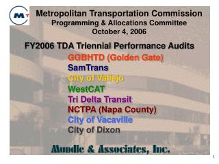 FY2006 TDA Triennial Performance Audits