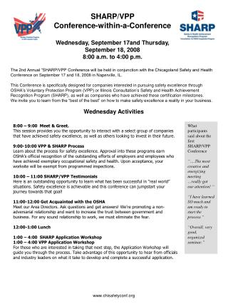 SHARP/VPP  Conference-within-a-Conference Wednesday, September 17and Thursday, September 18, 2008 8:00 a.m. to 4:00 p.m.