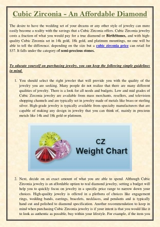 Cubic Zirconia - An Affordable Diamond