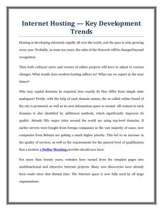Internet Hosting -Key Development Trends