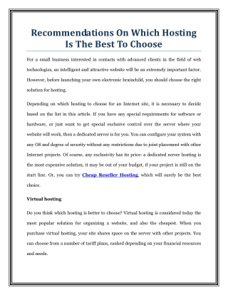 Recommendations On Which Hosting Is The Best To Choose