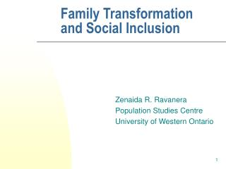 Family Transformation and Social Inclusion