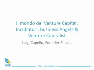 Il mondo del Venture Capital: Incubatori, Business Angels  Venture Capitalist