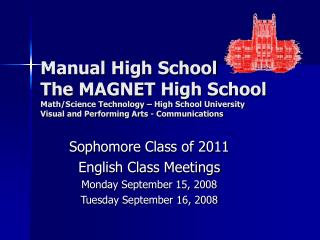 Manual High School The MAGNET High School Math