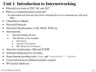 Unit 1 :  Introduction to Internetworking