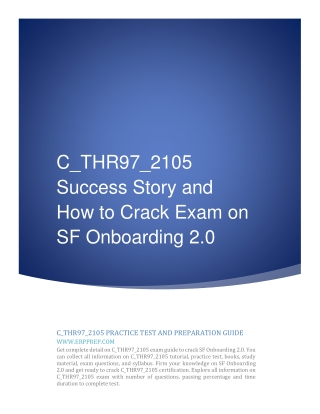C_THR97_2105 Success Story and How to Crack Exam on SF Onboarding 2.0