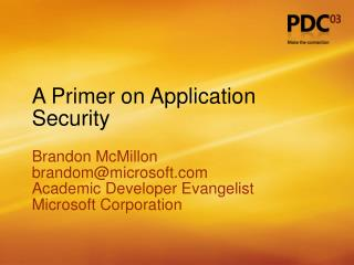 A Primer on Application Security