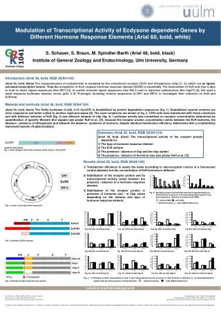 Modulation of Transcriptional Activity of Ecdysone dependent Genes by Different Hormone Response Elements Arial 60, bold