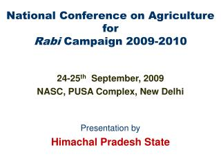 National Conference on Agriculture for  Rabi  Campaign 2009-2010