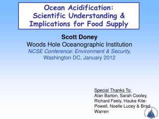 Ocean Acidification:  Scientific Understanding &  Implications  for F ood Supply