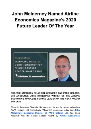 John McInerney Named Airline Economics Magazine's 2020 Future Leader Of The Year