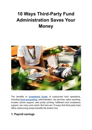 10 Ways Third-Party Fund Administration Saves Your Money