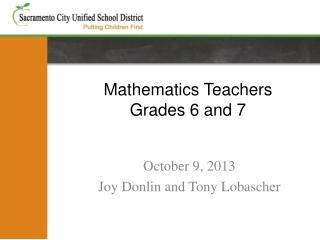 Mathematics Teachers Grades 6 and 7