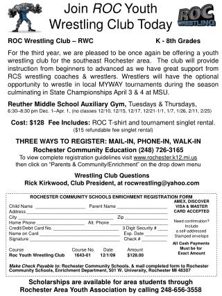 Join  ROC  Youth  Wrestling Club Today