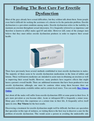 Finding The Best Cure For Erectile Dysfunction