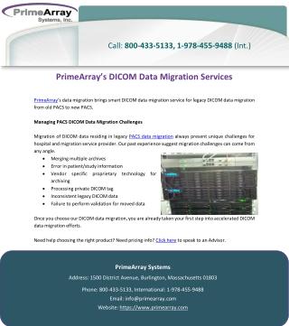 PrimeArray's DICOM Data Migration Services