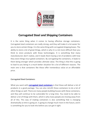 Corrugated Steel and Shipping Containers