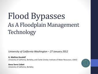Flood Bypasses As  A Floodplain Management Technology
