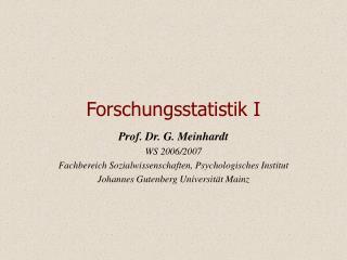 Forschungsstatistik I