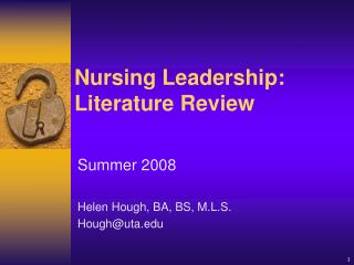 Nursing Leadership: Literature Review