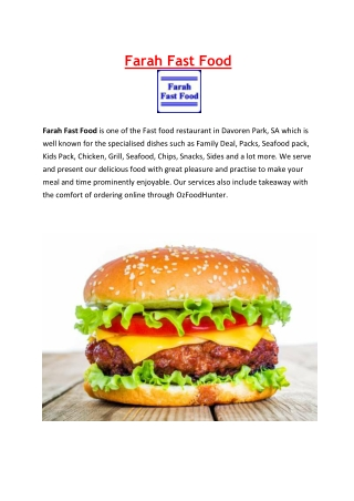 5% off - Farah Fast Food Restaurant Menu Davoren Park, SA