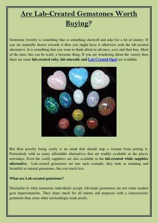 Are Lab-Created Gemstones Worth Buying