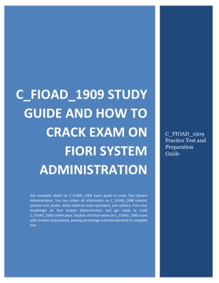 C_FIOAD_1909 Study Guide and How to Crack Exam on Fiori System Administration