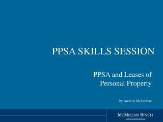 PPSA SKILLS SESSION