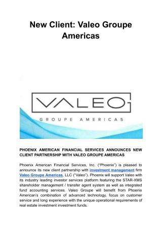 New Client: Valeo Groupe Americas